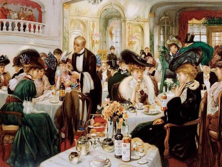 Cafe Kaffehus med Kafferep alkohol och sju sorters kakor 1900-tal
